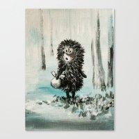 Hedgehog in the fog Canvas Print