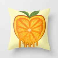 Love Orange Throw Pillow