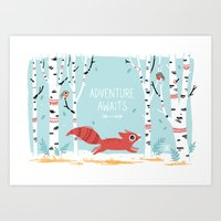 adventure Art Prints featuring Adventure Awaits by Freeminds