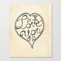 I Love You Sketch Canvas Print