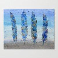 Four Blue Feathers Canvas Print