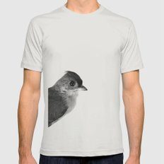 Natural History Bird Photograph - Tufted Titmouse Mens Fitted Tee Silver SMALL