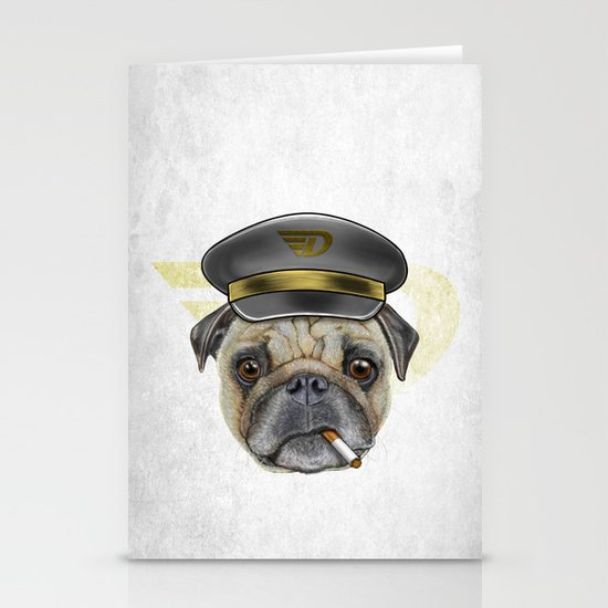 Pug Commander  Stationery Card