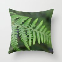 green fern leaves. floral nature wild plant photography. Throw Pillow