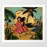 Tattoo Gemini Art Print