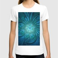Flourish Blue, Abstract … Womens Fitted Tee White SMALL