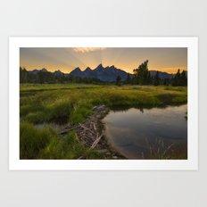 Grant Teton National Park Mountain Sunset Art Print