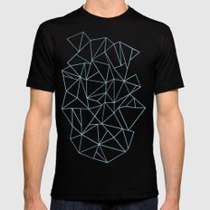 Abstraction Outline Sky Blue SMALL Mens Fitted Tee Black