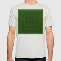 Squared Spiral Mens Fitted Tee Silver SMALL