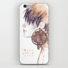 Fashion illustration profile portrait gold black white markers and watercolors iPhone & iPod Skin