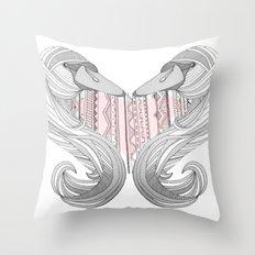 Swan Love Throw Pillow