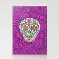 Flower Power Skully Stationery Cards
