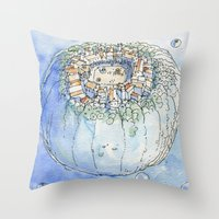 The Planet City Throw Pillow