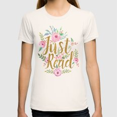 Just Read - Black Womens Fitted Tee Natural SMALL