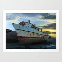 Old Fishing Boat at Low Tide Sunset Art Print