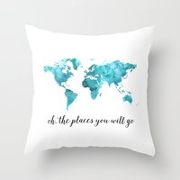 Oh, the places you will go Throw Pillow
