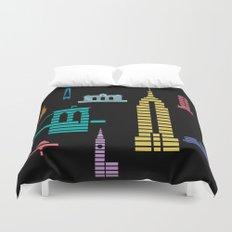 New York Skyline Empire State Poster Black Duvet Cover