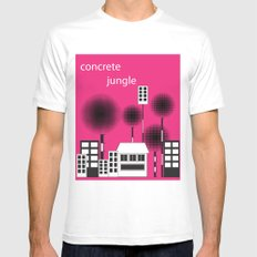 concrete jungle SMALL White Mens Fitted Tee