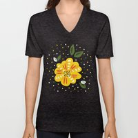 Abstract Yellow Primrose Flower Unisex V-Neck