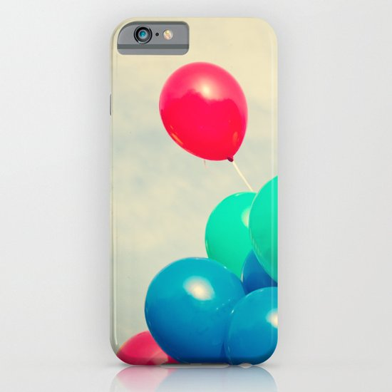Red and Blue balloons on retro sky iPhone & iPod Case