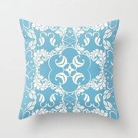 Blue Leaf Lace  Throw Pillow