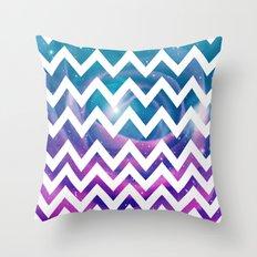 Universal Geometry - Chevron with purple and aqua galaxy  Throw Pillow