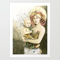 Mother Earth to her child Art Print