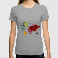 Simi's Map of the World Womens Fitted Tee Tri-Grey SMALL