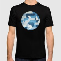Abstract Geometry  Mens Fitted Tee Black SMALL