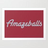 Amazeballs Dark Pink Art Print