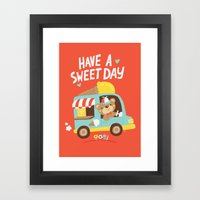 Ice Cream Bear Framed Art Print