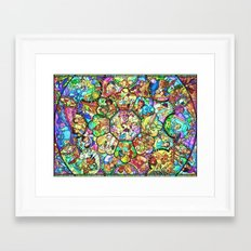 Mickey Mouse and Friends - Stained Glass Window Collage Framed Art Print