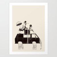 Going By Elephant Art Print