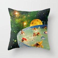 Screaming Children in Pool Throw Pillow