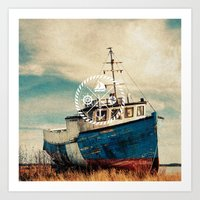 Blue Brown Vintage Nauti… Art Print
