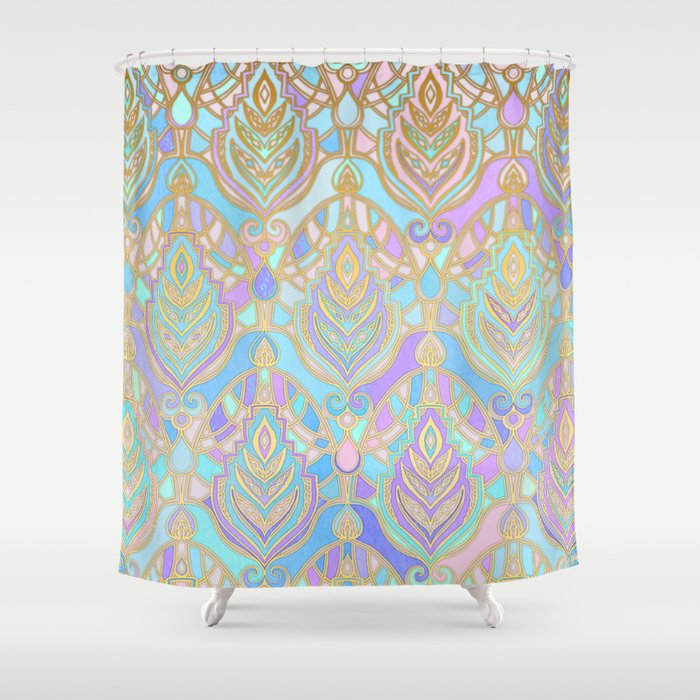 Jade & Blue Enamel Art Deco Pattern Shower Curtain By