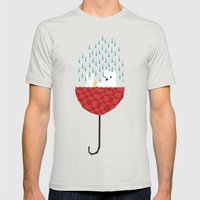 umbrella bath time! Mens Fitted Tee Silver SMALL
