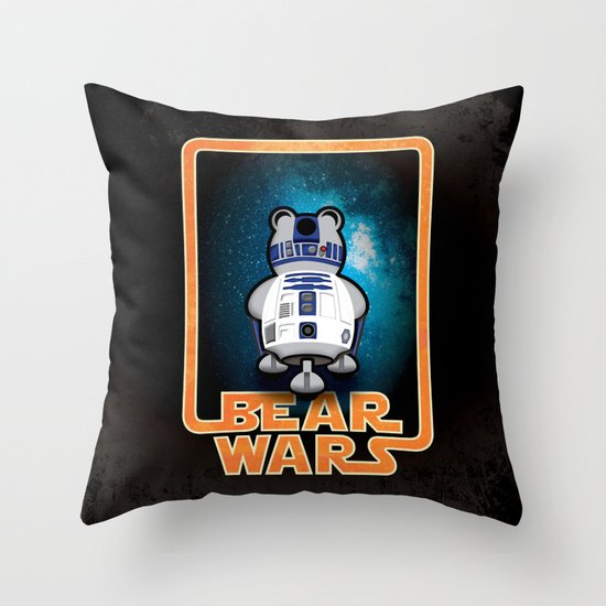 Bear Wars - GRRR2D2 Throw Pillow
