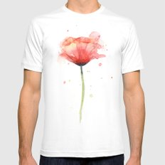 Red Poppy Watercolor | Floral Illustration SMALL Mens Fitted Tee White