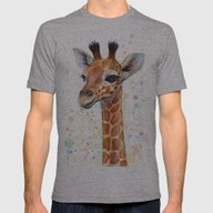 Giraffe Baby Mens Fitted Tee Athletic Grey SMALL