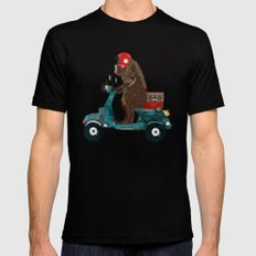scooter bear MEDIUM Black Mens Fitted Tee