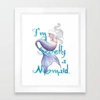 Secretly a Mermaid Framed Art Print