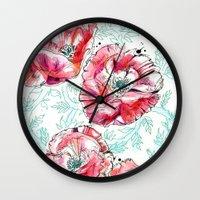 Poppies & Vines Wall Clock