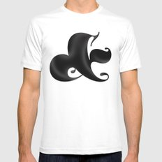 Bold Ampersand White SMALL Mens Fitted Tee