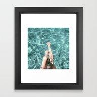 Framed Art Print featuring Pool Legs by Phillip Van