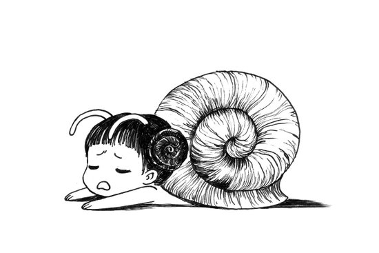 Snail girl Art Print