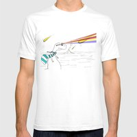 Hipster Laser Dinosaur Mens Fitted Tee White SMALL