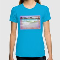 Houses near the sea shore Womens Fitted Tee Teal SMALL