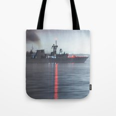 Warship Weighs Anchor Tote Bag