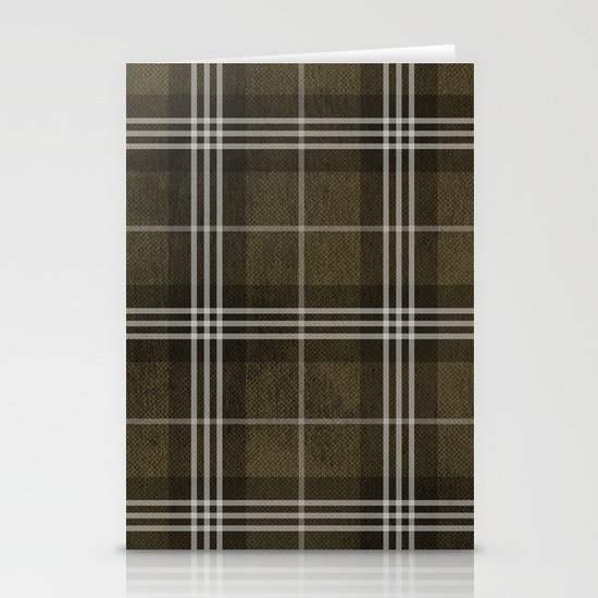 Grungy Brown Plaid Stationery Card